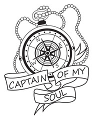 "Vintage Compass With Ribbons And Text ""Captain Of My Soul"". Motivation Card. Vacation And Tourism Icon. Vector Decorative Elements. Vintage Compass Tattoo. Black And White Vector Decorative Elements."