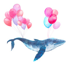 Watercolor blue whale flying on air balloons. Fairytale hand painted sea animal isolated on white background. Artistic print design