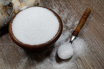 Xylitol from birch sugar - substitute white sugar - produkt used in the food industry - alternative