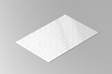 Blank white jigsaw puzzle game mockup, isometric view, 3d rendering. Child mosaic toy, clear surface design mock up.