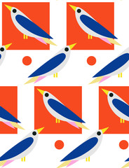 Seamless ornamental pattern with birds. Cute print with bird in scandinavian style.