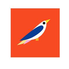 Cute vector birds card. Cartoon with bird