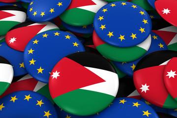 Jordan and Europe Badges Background - Pile of Jordanian and European Flag Buttons 3D Illustration