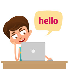 Cute Boy teenager sitting in front of computer. Social Network Concept. Flat Style.Speech bubbles Hello.