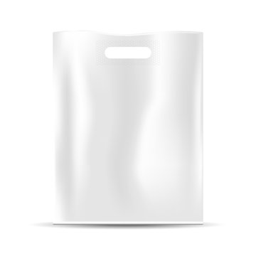 Blank white plastic bag, empty template, realistic vector, isolated on white