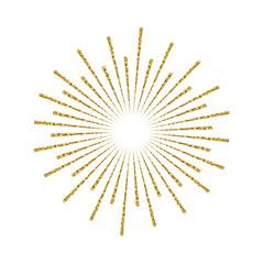 Sunburst gold glitter effect isolated on white background. Light starburst design element use for logo, labels and badges. Vector Illustration