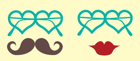Points in the form of heart, mustaches and lips
