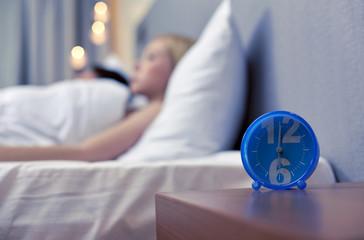 close up of alarm clock in bedroom