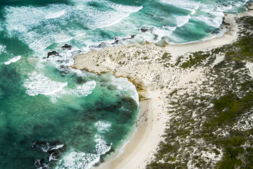 Aerial view of the sandy beaches of the southern Cape