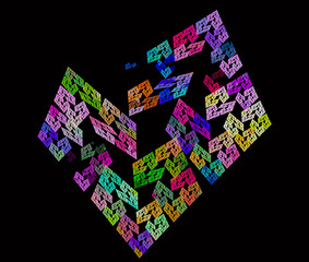 Colorful abstract fractal as a heart on black background. Computer generated graphics.