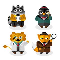 Animal professions cartoon characters set