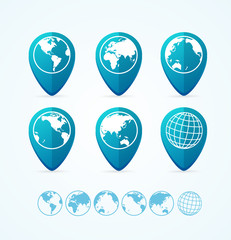 Globe Icon Set Tags. Vector