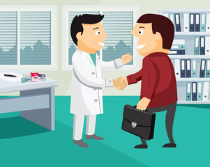 Cartoon doctor and patient handshake. Examination by a doctor. Funny vector flat simple illustration.