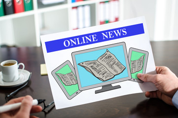 Online news concept on a paper