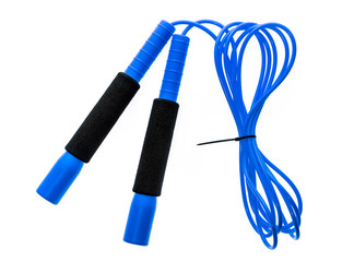 Blue jump rope or skipping rope isolated on white background.