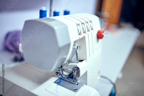 Seamstress Inserts Thread In Old Sewing Machine Stock Photo And Simple How To Thread An Old Sewing Machine With Pictures