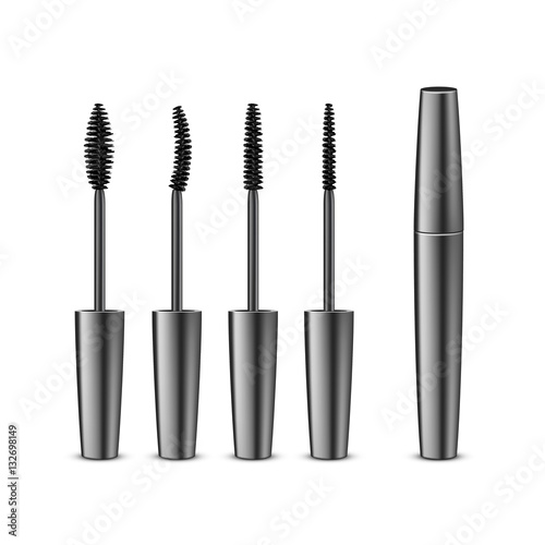 3ffab51da28 Vector Set of Opened Closed Black Realistic Mascara in Dark Shiny Tube with  Different Brushes Isolated