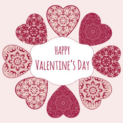 Decorative Valentine greeting card with floral ornate hearts. Vector illustration EPS 10.