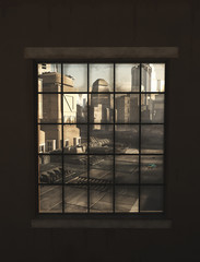 Future City View through the Window - science fiction illustration