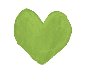 Greenery heart painted with gouache