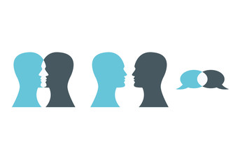 Man head silhouette vector. Vector illustration of talking heads. Set of communication icons
