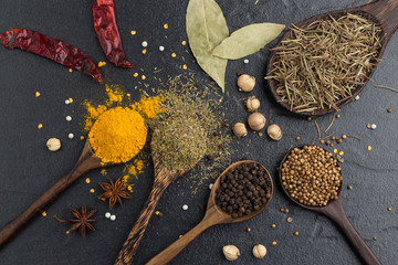 Variety of herbs and spicies ingredients. peppercorn, mustard, o