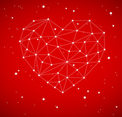 Modern heart made from triangles