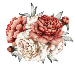 red peonies. watercolor flowers. floral illustration in Pastel colors. bouquet of flowers isolated on white background. Leaf and buds. Romantic composition for wedding or greeting card