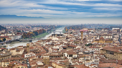 Beautiful aerial view of Florence from the observation platform  Palazzo Vecchio.