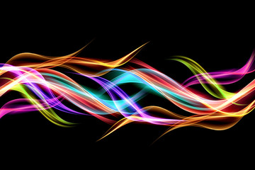 Abstract colorful background flames effect lighting. Multicolor blurred waves design. Glowing element for your creative graphics.