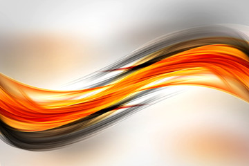 Photo sur Plexiglas Fractal waves Abstract Orange Black Waves Background