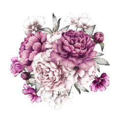 pink peonies. watercolor flowers. floral illustration in Pastel colors. bouquet of flowers isolated on white background. Leaf and buds. Romantic composition for wedding or greeting card