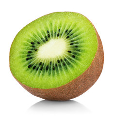 Single half of ripe juicy kiwi fruit isolated on white background