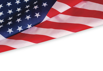 USA flag on white background with clipping path