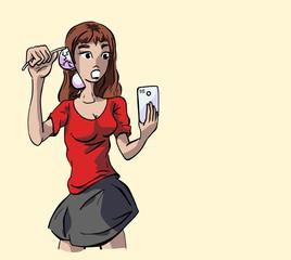 Meisje schrikt melding op smartphone