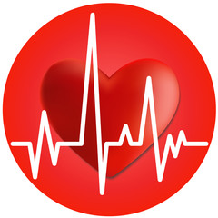 Heart and cardiogram. Vector image.