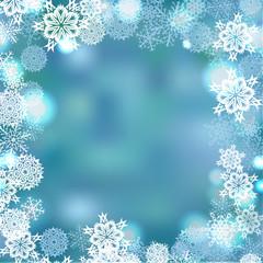 Snowflackes frame vector winter background