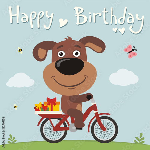 Happy Birthday Funny Puppy Dog On Bike With Gifts Birthday Card