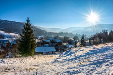 winter landscape in mountainous rural area