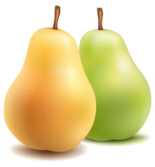 pears one on white background