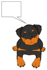 animal, pet, friend, puppy, dog, cartoon, illustration, rottweiler, guard, dangerous, black, orange, Germany, lying, think, callout, clean, sleep