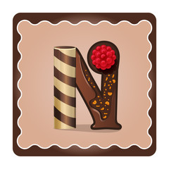 Letter n candies  chocolate