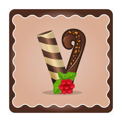 Letter v candies  chocolate