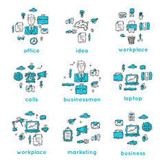 Office. Business, office work, workplace.Banners. Hand drawn vintage style. Flat design vector illustration.