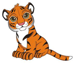 animal, cartoon, wild, cat, zoo, circus, dangerous, illustration, predator, hunter, tiger, horoscope, orange, stripes, striped,