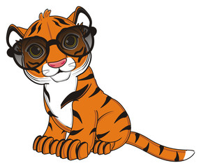 animal, cartoon, wild, cat, zoo, circus, dangerous, illustration, predator, hunter, tiger, horoscope, orange, stripes, striped, black, sunglasses