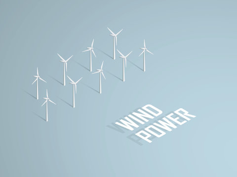 Wind power concept vector illustration with 3d  turbines in offshore farm.