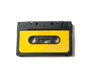 Orange Audio cassette on white background