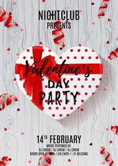 Party poster for Valentine's Day. Beautiful poster with white gift box in the form of heart. Vector illustration with serpentine and confetti on wooden texture. Invitation to nightclub.