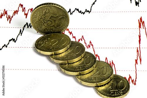 Diagonal row of euro cent coins lying on stock market prices